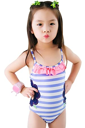 Meeyocc Kids Girls Cute One Piece Swimming Costume Toddler Spaghetti Strap Camisole Flower Print Swimsuit Swimwear  sc 1 st  Amazon UK & Meeyocc Girls Ruffle Swim Suits Kids Striped Swimming Costume ...