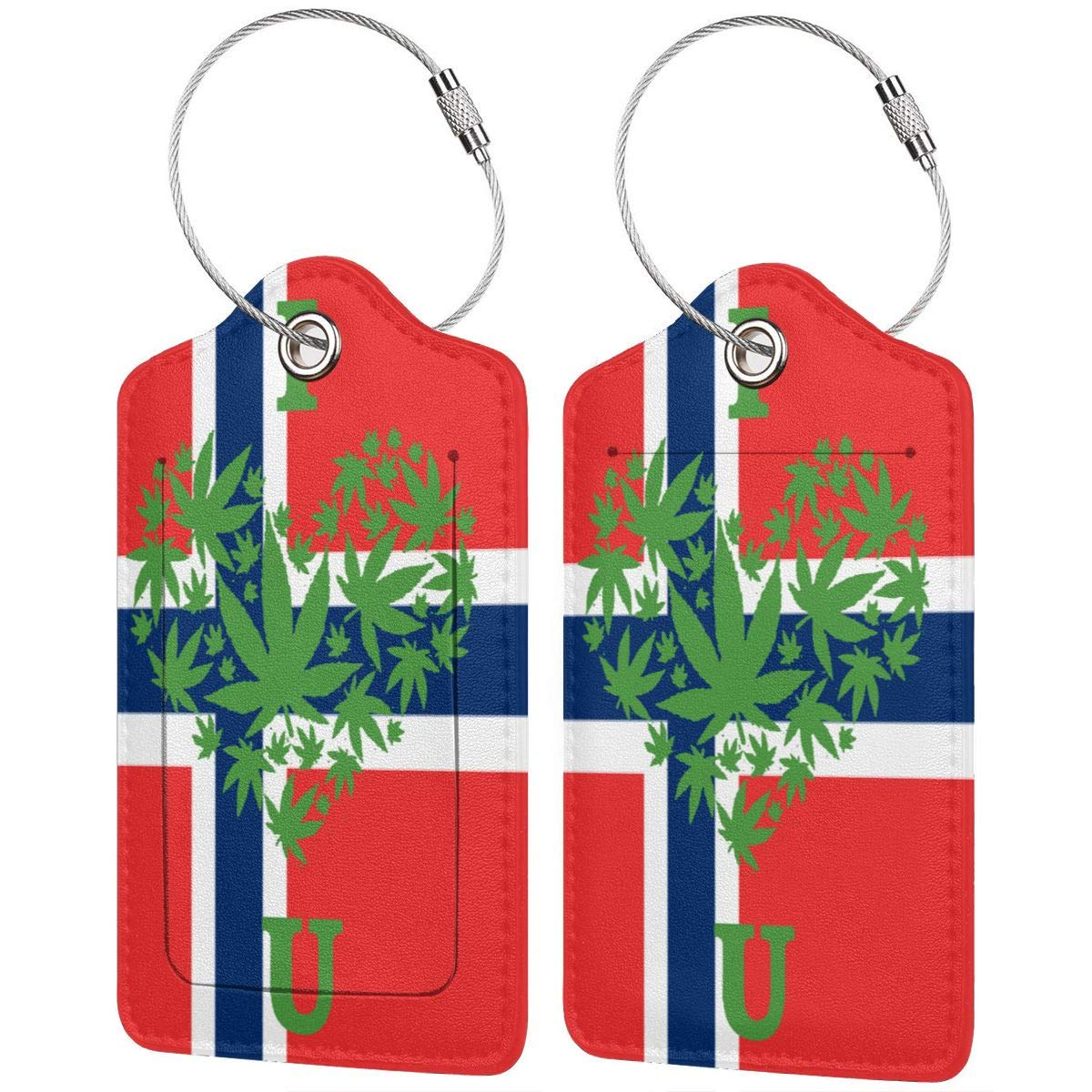 GoldK Norwegian Flag Weed Leather Luggage Tags Baggage Bag Instrument Tag Travel Labels Accessories with Privacy Cover