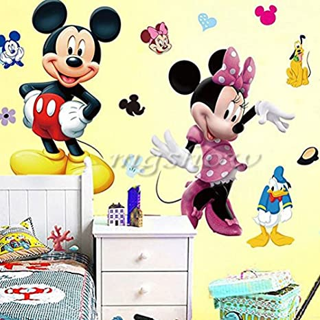 Amazon.com: Mickey Minnie Mouse Kids Room Decor Disney Wall Sticker ...