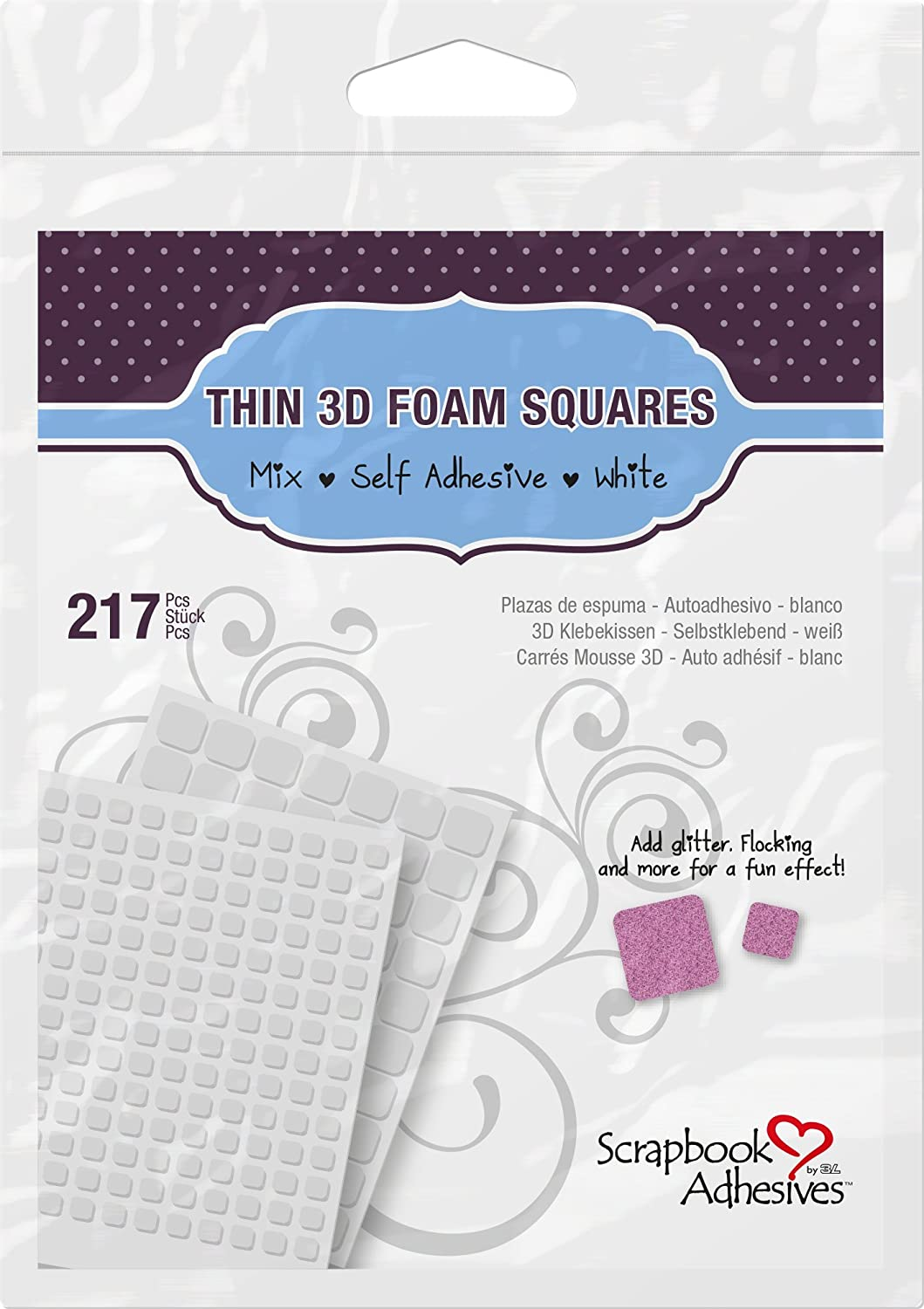 Scrapbook Adhesives by 3L 01616-MP Permanent Thin Pre-Cut 3D Foam Squares (217 Pack) (Set of 10), White