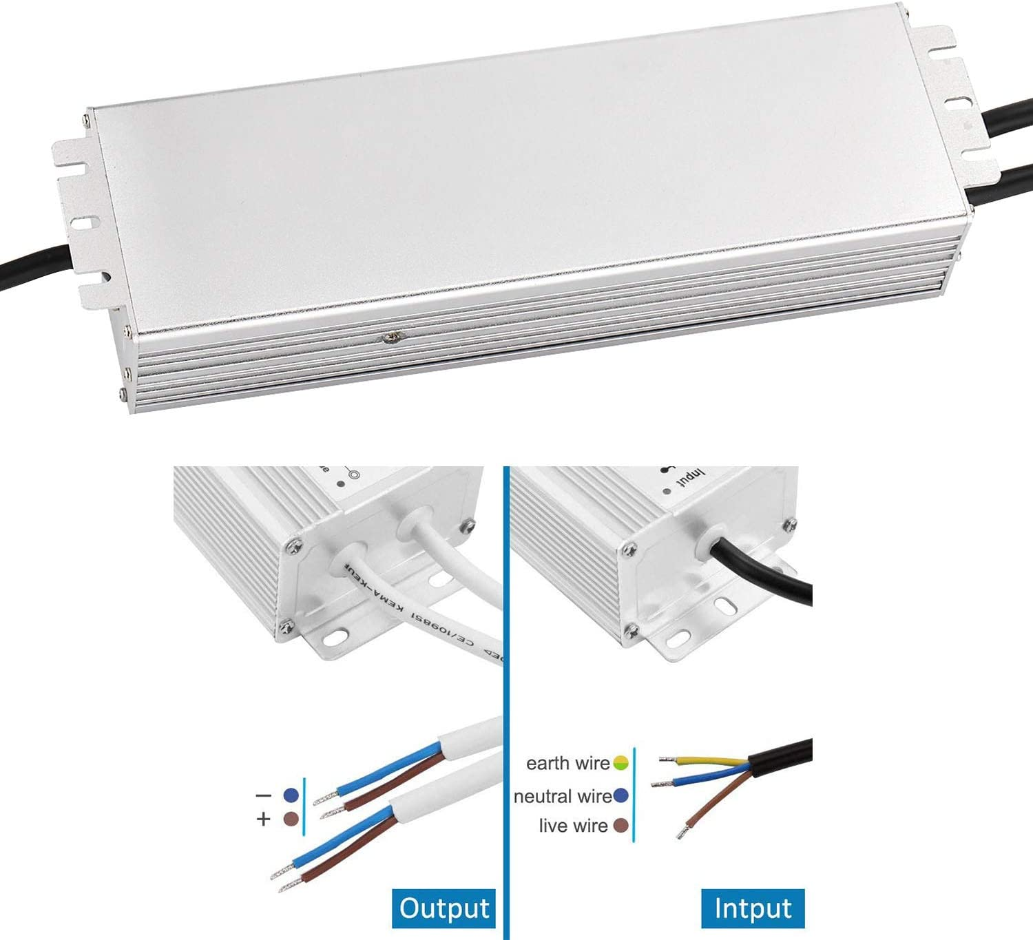 CPROSP LED Transformer 12V 300W 25A IP67 Waterproof Low Voltage LED Driver Transformer Form 230V AC to 12V DC Universal Power Supply Indoor Outdoor Adapter for LED Strip and Bulb