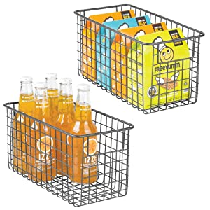 "mDesign Farmhouse Decor Metal Wire Food Storage Organizer, Bin Basket with Handles for Kitchen Cabinets, Pantry, Bathroom, Laundry Room, Closets, Garage - 12"" x 6"" x 6"" - 2 Pack - Graphite Gray"