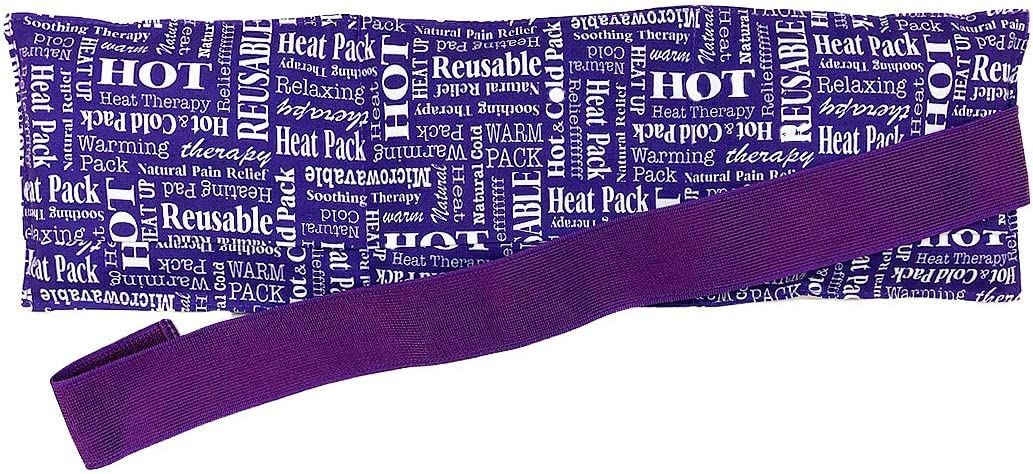 Hot Pockets Back Heating Pad for Lower Back Pain Relief - Washable and Microwavable Heat Wrap with Secure to Body Strap – American Brand Natural Hot & Cold Therapy Packs (Purple Words)