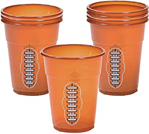 Fun Express - Football Disposable Cups (50pc) - Party Supplies - Drinkware - Disposable Cups - 50 Pieces