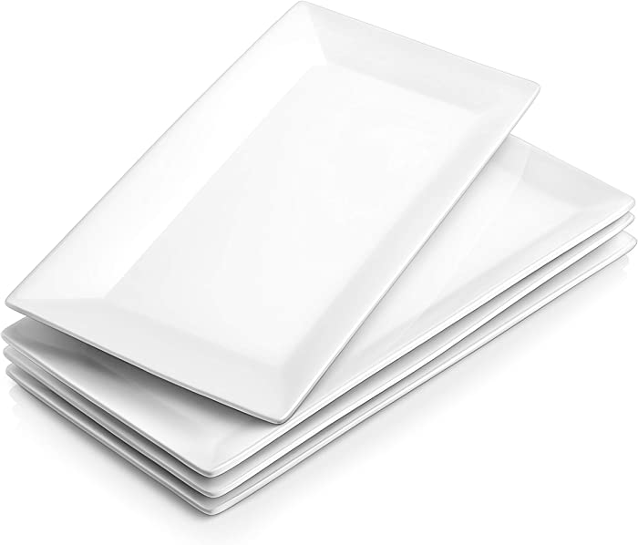 DOWAN 12 Inches Porcelain Serving Platters Rectangular Dinner Plates Stackable Serving Plates Set of 4 Serving Dishes - White