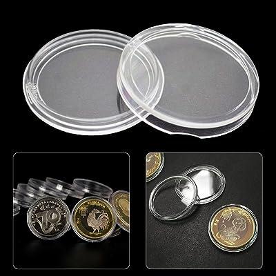 20pcs 44mm rond pièce de monnaie Coque plastique commémoratives protection Box pièce de monnaie Collection Support