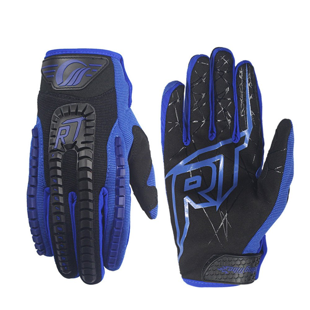 QARYYQ Off-Road-Reitlokomotiven-Rennhandschuhe, Anti-Fall-Touchscreen-Handschuhe, Mehrere Farben Handschuh (Farbe   Blau, größe   M)