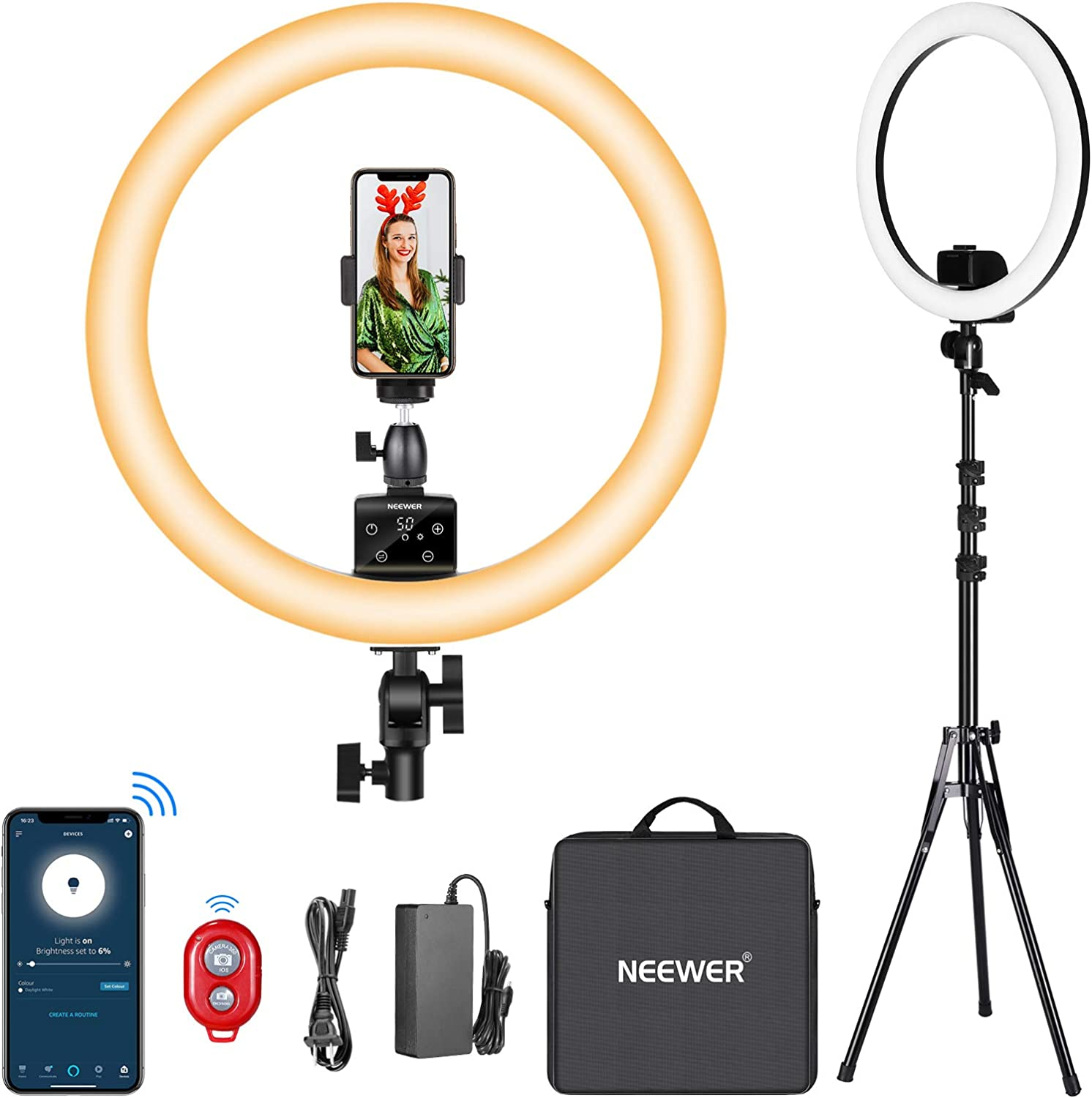 Neewer 16-inch LED Ring Light Works with Alexa, APP/Touch Screen Control, Dimmable 3200-5600K, CRI98, Light Stand Include for Makeup/TikTok/YouTube Video Recording/Vlogs/Live Streaming/Zoom Lighting