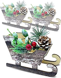 BANBERRY DESIGNS Woodsy Christmas Sleigh Decorations - Set of 3 Mini Sleighs with Pinecones and Berries - Natural Brown