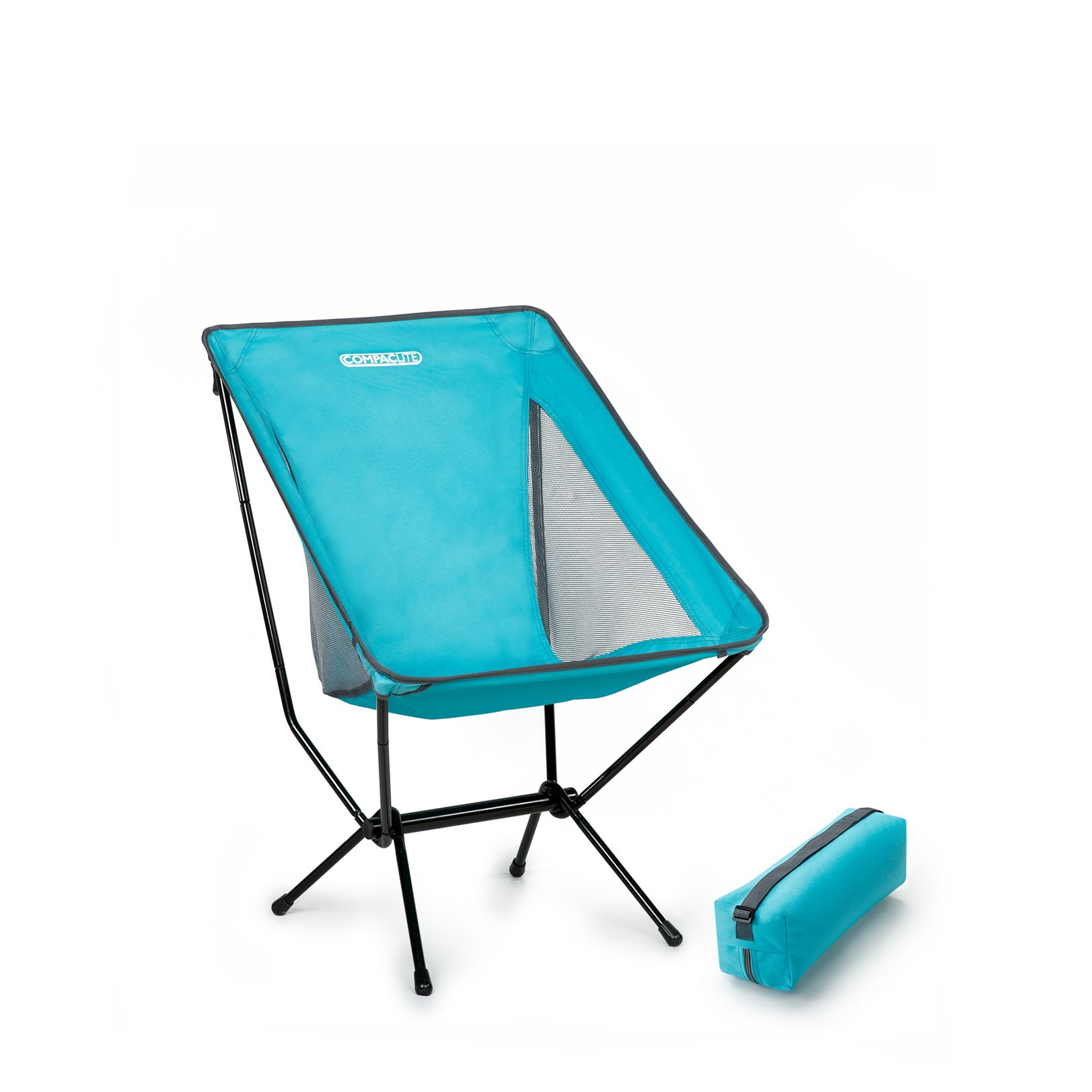 Compaclite Steel Camping Portable Chair with mesh Side Panels and Carry Bag, Deluxe - Bright Blue