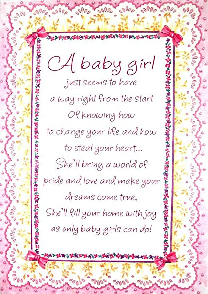 amazon com braille embossed new baby greeting card a baby girl