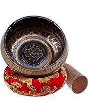 Rovtop Cuenco Tibetano a Mano para la Meditación Chakra Healing, Oración, Yoga, Budismo y Sanación a través de la Vibración Cuenco, Incluye un Cojín y la Baqueta