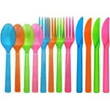 Party Essentials Hard Plastic Cutlery Combo Pack, 48 Pieces/16 Place Settings, Assorted Neon Brights