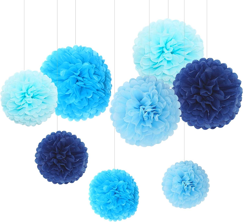 B/éb/é Bapt/ême F/êtes d/'Anniversaire un /Év/énement Sp/écial F/êtes /à th/ème Feelshion 9 Pi/èces pompoms papier de soie Bleue /à Suspendre Fleur D/écoration de Mariage