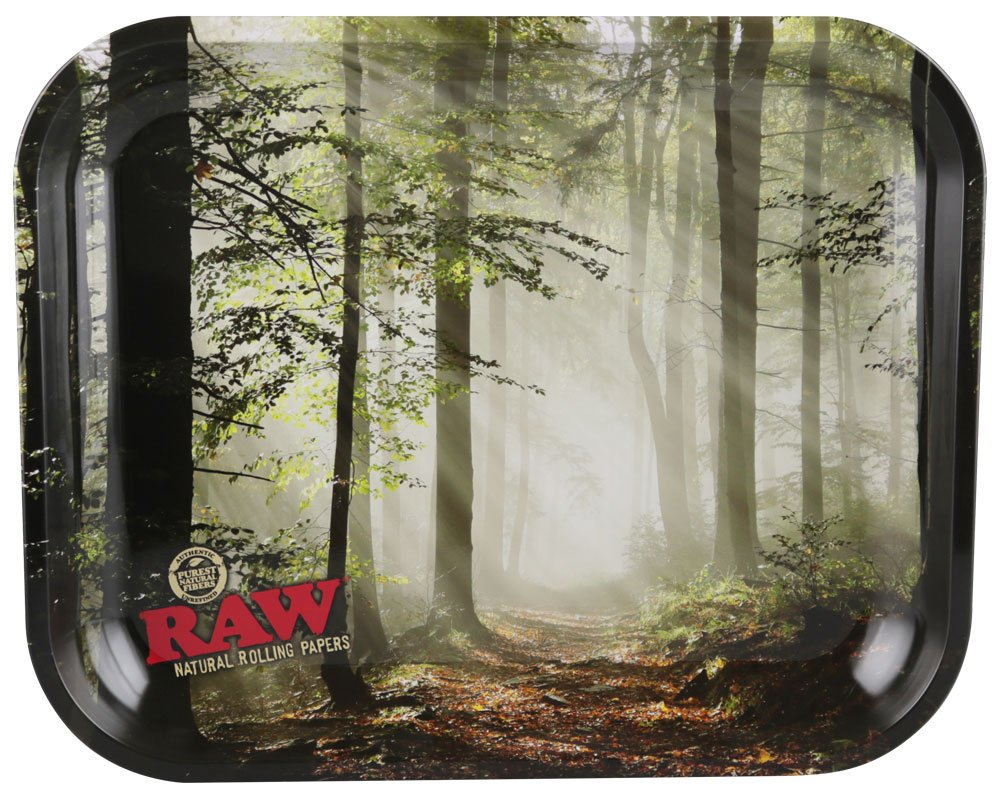 RAW Smokey Forest Trees Metal Rolling Tray (Large 13.5''x11'') by Raw