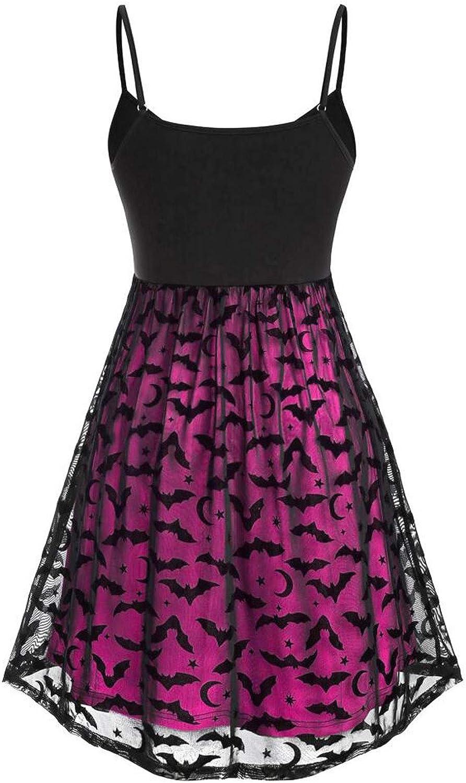 Halloween Women Fashion Vintage Sleeveless Swing Plus Size Bat Mesh Party Dress