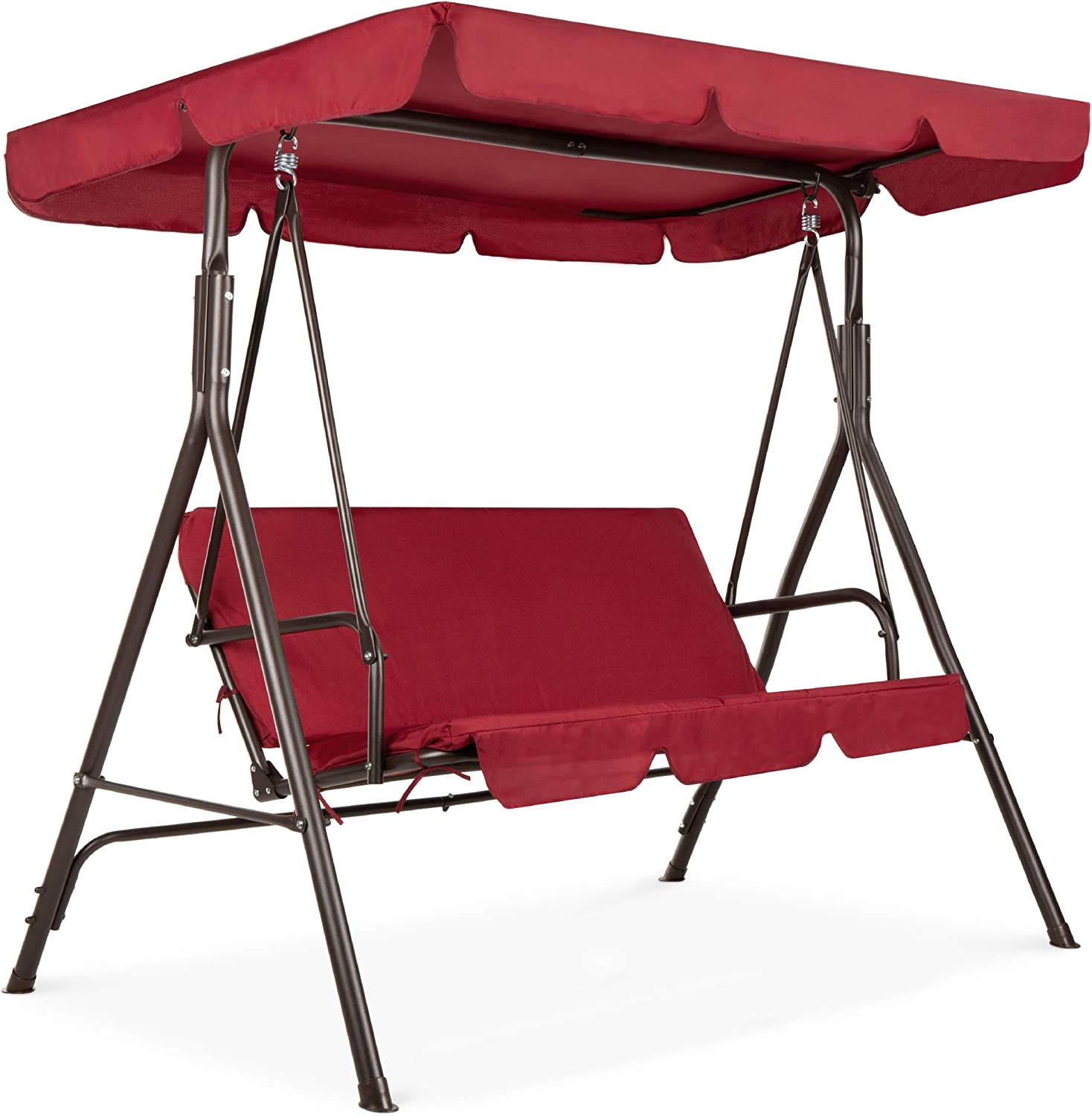 best choice products 2 person outdoor large convertible canopy hanging swing glider lounge chair w adjustable shade removable cushions burgundy