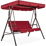 Best Choice Products 2-Person Outdoor Large Convertible Canopy Hanging Swing Glider Lounge Chair w/Adjustable Shade…