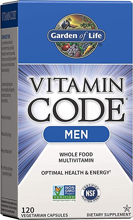 Garden of Life Vitamin Code Whole Food Multivitamin for Men - 120 Capsules, Vitamins for Men, Fruit & Veggie Blend and Probiotics for Energy, Heart, Prostate Health, Vegetarian Mens Multivitamins