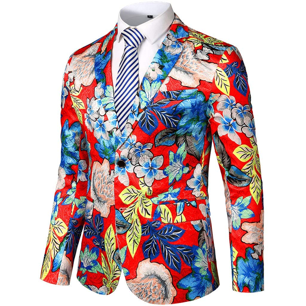 Men's Long Sleeve Dress Suit Coat,Clearance!! Males Winter Slim Fit Floral Printing Vintage Tops Turn-Down Collar Button Top Jacket by cobcob men's Coat