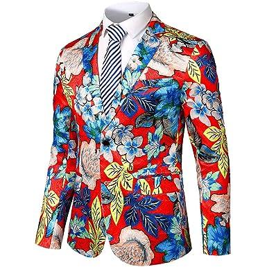 Chaquetas de Traje Estampada Floral Casual para Hombre Slim Fit ...
