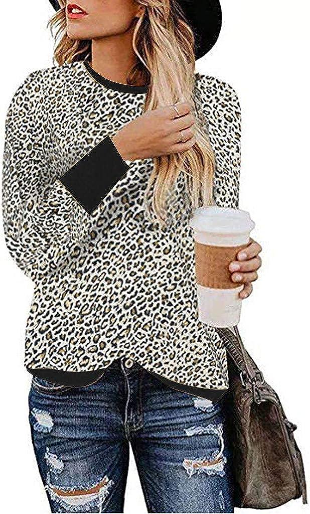 YiYLunneo Womens Hooded Leopard Print Shirts Round Neck Long Sleeve Patchwork Sweatshirt Tops