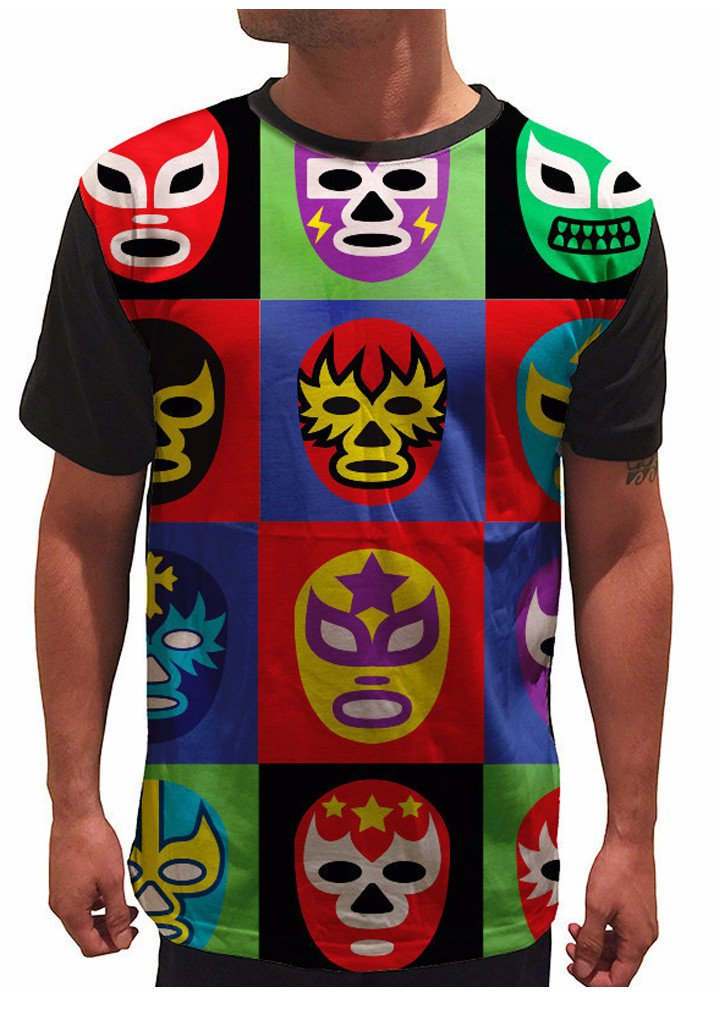 On Cue Apparel Lucha Libre T-Shirt - All Over Print Graphic Rave Shirts - X-Large by On Cue Apparel