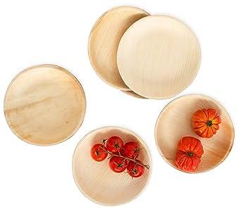 Platos desechables de hoja de palma, 18 cm, redondos, 25 ...