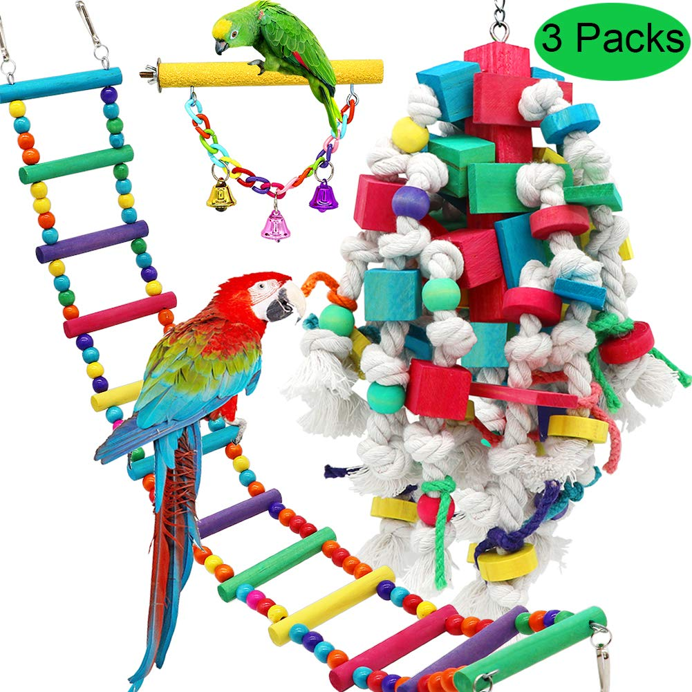 PETUOL Large Bird Swing Toys, 3 Packs Big Parrots Chewing Natural Wood with Bells Toys for Macaws Cokatoos, Alexandrine Parakeet, African Grey Parrot and a Variety of Large Amazon Finch by PETUOL