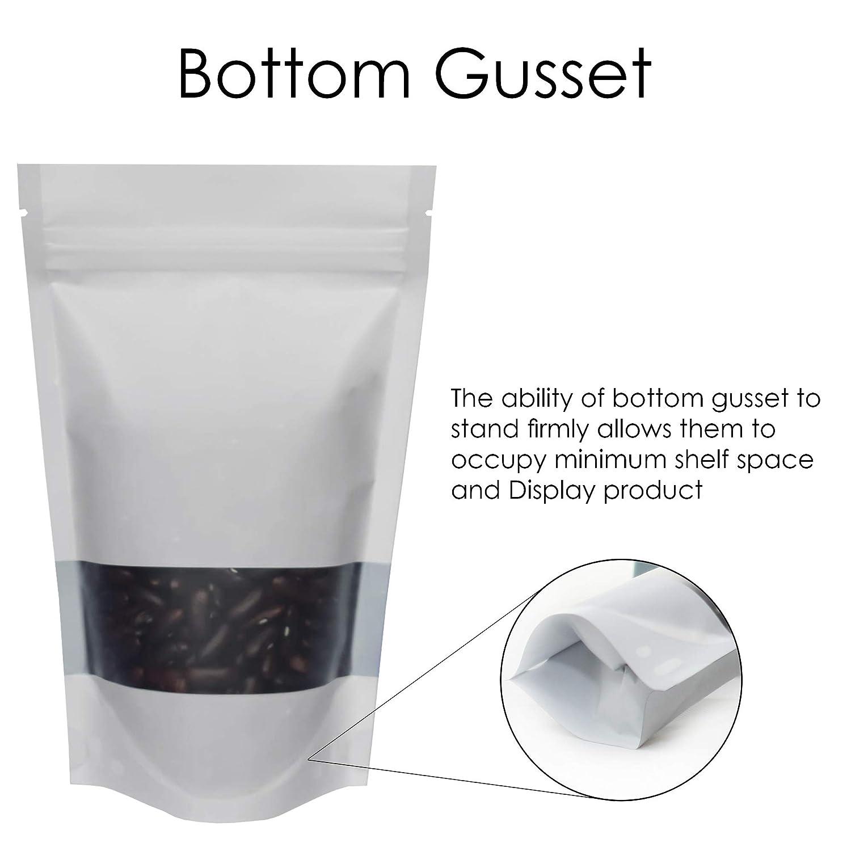 100qty 50mm SP1-80mm x 130mm rightpak ventana blanco mate stand up bolsas con cremallera extra/íble y Tear muesca para envases de comida