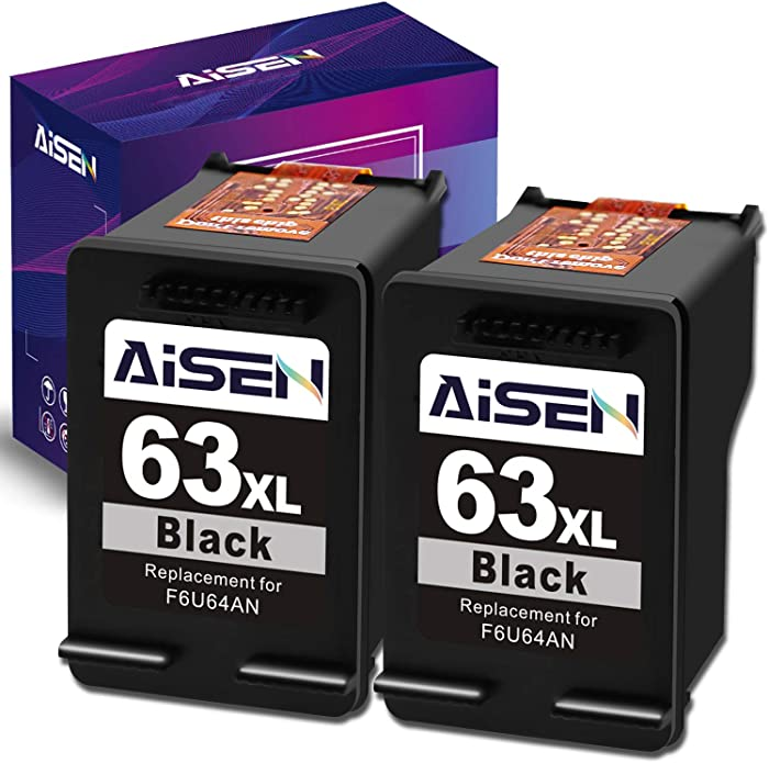 AISEN Remanufactured Ink Cartridge 63 Replacement for HP 63XL 63 XL Used in Officejet 3830 5255 5258 4650 5230 Envy 4520 4512 4513 DeskJet 1112 1110 3630 3632 2130 2132 (2 Black)
