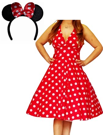 134fe3fbddd Image Unavailable. Image not available for. Color  Funfash Plus Size  Halloween Costume Red White Polka Dot Dress Minnie Mouse Ears