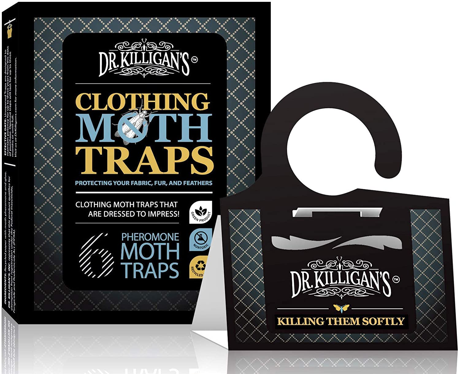 Dr. Killigan's Premium Clothing Moth Traps with Pheromones Prime | Non-toxic Clothes Moth Trap With Lure for Closets & Carpet | Moth Killer Treatment & Prevention | Case Making & Web Spinning (6, BLK)