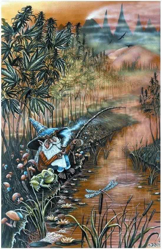 Gnome Fishin' Blacklight Poster by Mike Dubois 23 x 36in