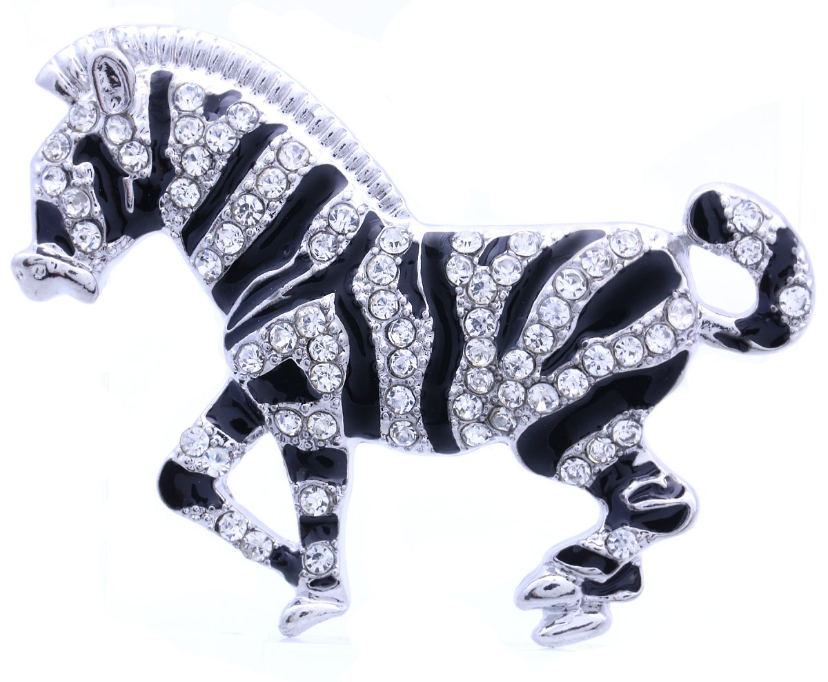 Zebra Horse Brooch Pin Clear Rhinestone Black Enamel Animal Fashion Jewelry