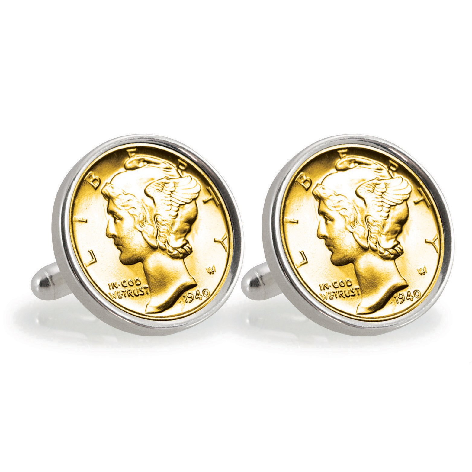 American Coin Treasures Gold-Layered Silver Mercury Dime Sterling Silver Cuff Links
