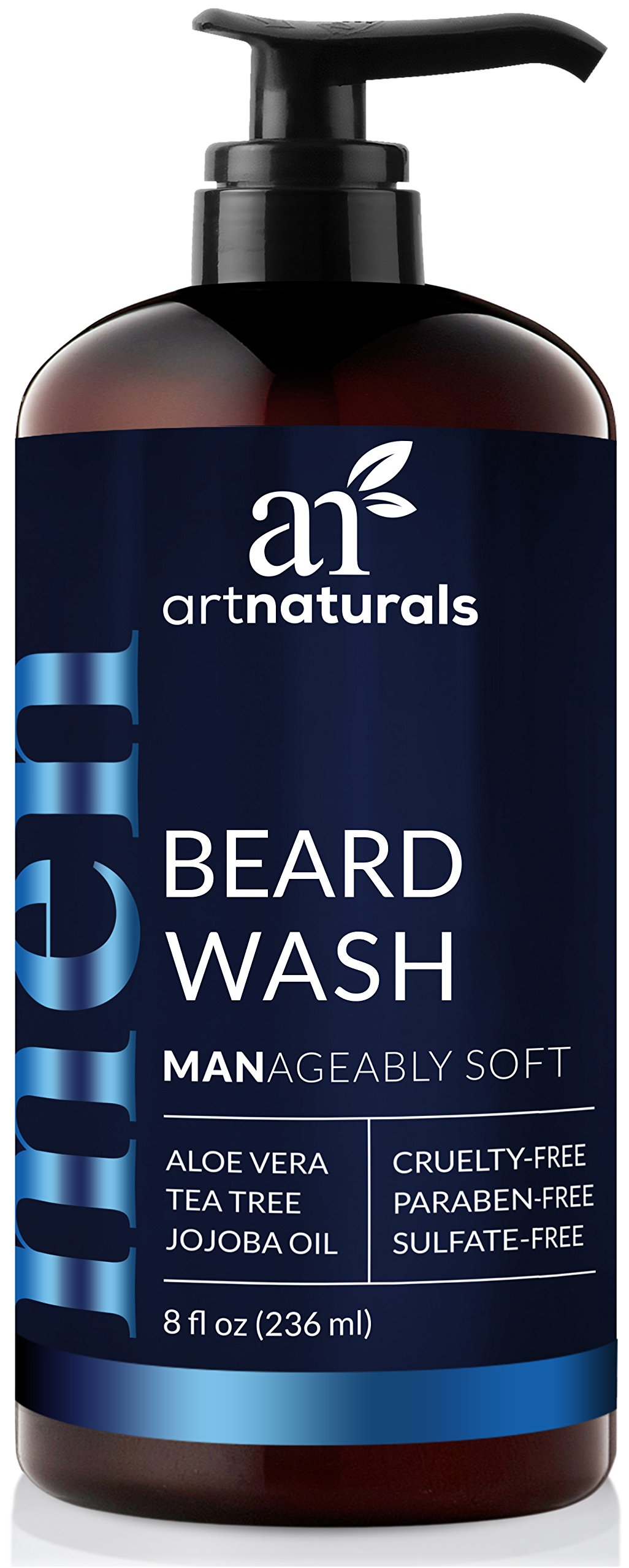 ArtNaturals Natural Beard Shampoo Wash - (8 Fl Oz/236ml) - Infused with Aloe Vera, Tea Tree and Jojoba Oil - Sulfate Free