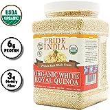 Pride Of India - Organic White Royal Quinoa - Protein Rich Whole Grain, 2.2 Pound (1 Kilo) Jar