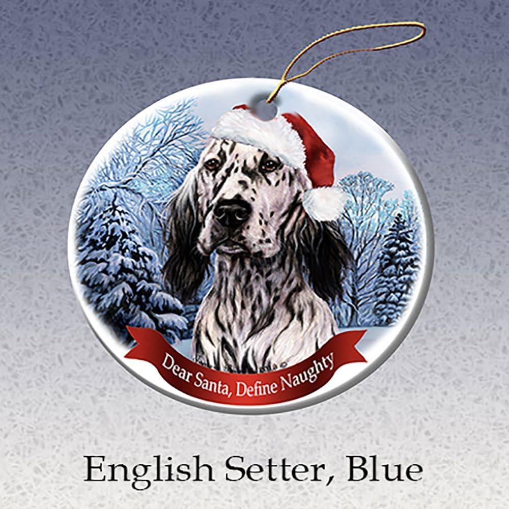 Holiday Pet Gifts Brittany Spaniel Santa Hat Dog Porcelain Christmas Ornament