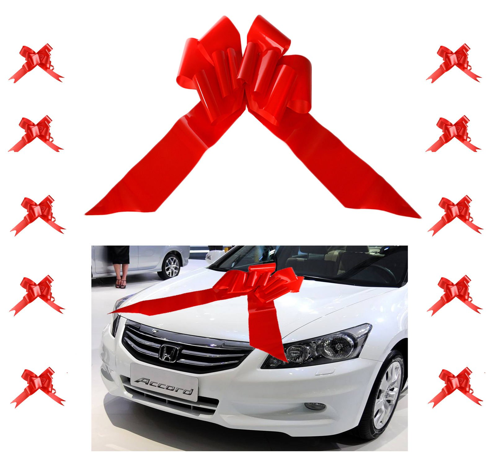 Eight24hours 23'' Giant Car Bow Red Ribbon Easy Assembly for Car Gift