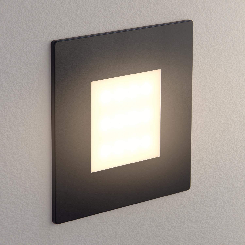 ledscom.de LED lámpara de Escalera FEX lámpara empotrable en la Pared, Negro, Angular, 8,5x8,5cm, 230V, Blanca cálida, 10 UDS: Amazon.es: Electrónica