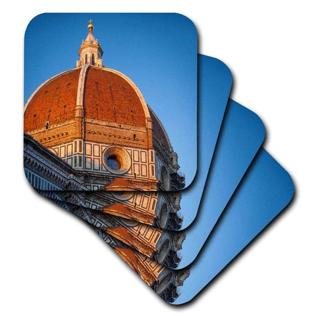 CST/_208900/_1 Set of 4 Italy - Soft Coasters Florence Duomo 3dRose Sunsett on The Dome of Santa Maria Del Fiore