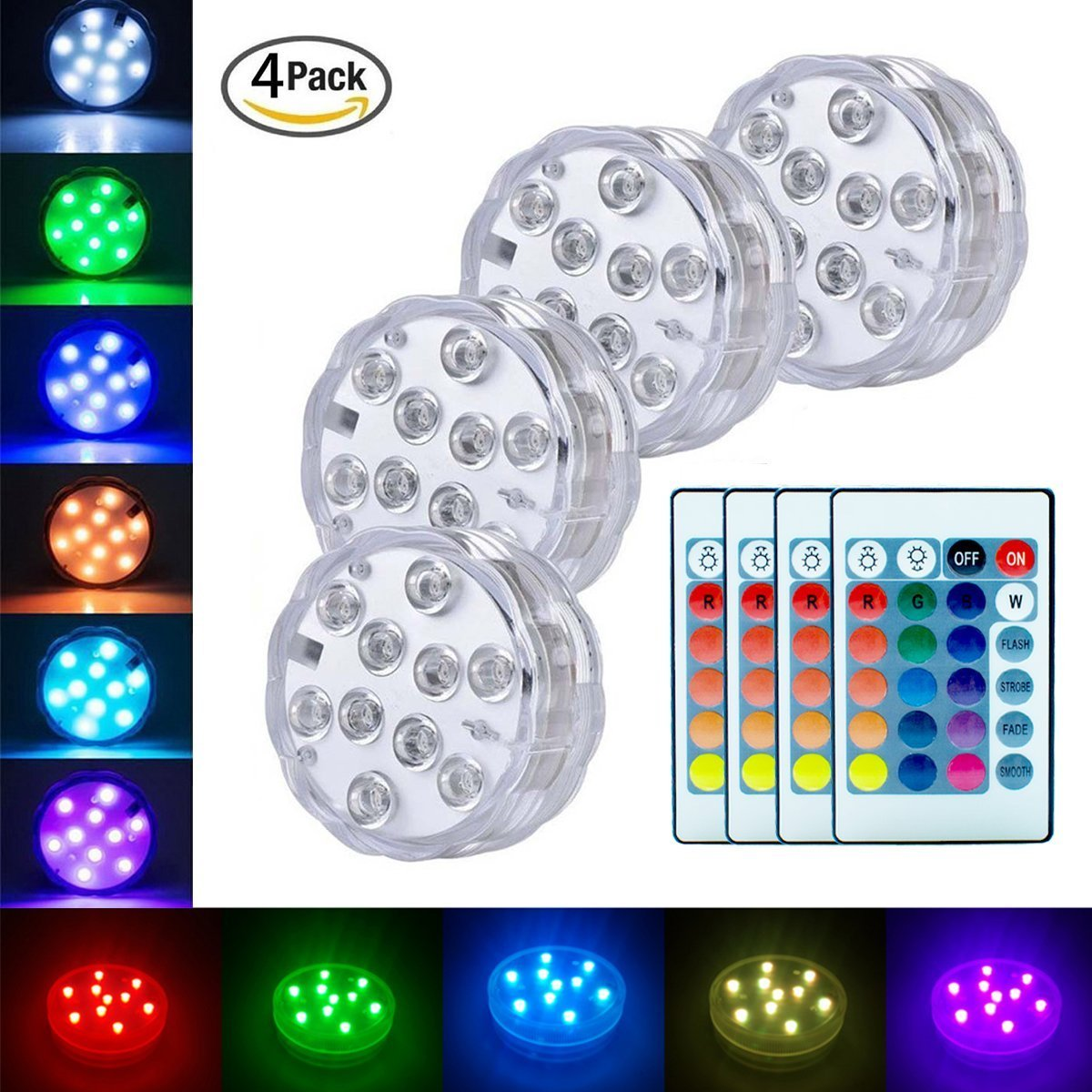 Submersible LED Lights, LoveNite Underwater Waterproof Battery Operated Remote Control Wireless Multi Color 10 LED RGB Reusable light for Tub Swimming Pool,Pond Party,Vase Base,Wedding,Christmas,Aquar