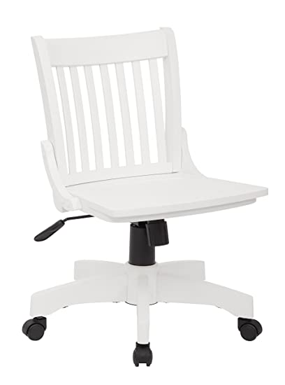 Elegant Office Star Deluxe Armless Wood Bankers Desk Chair With Wood Seat, White