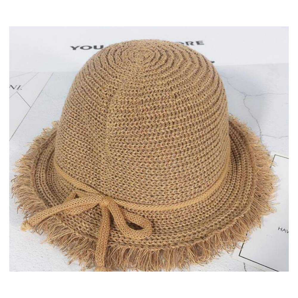 HYL World Toddlers Kids Straw Hat Sun Protection Hat with Bowknot Decor