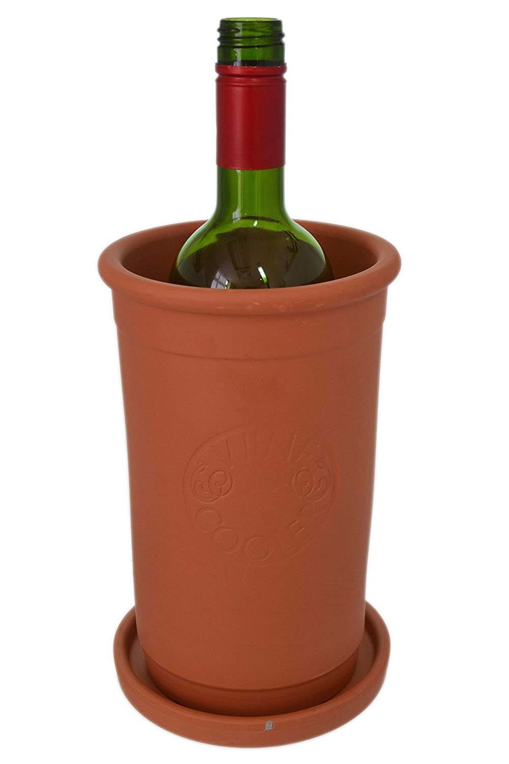 Natural Terra Cotta Clay Iceless Chiller Wine Cooler with Coaster Plate (Portugal) American Chateau