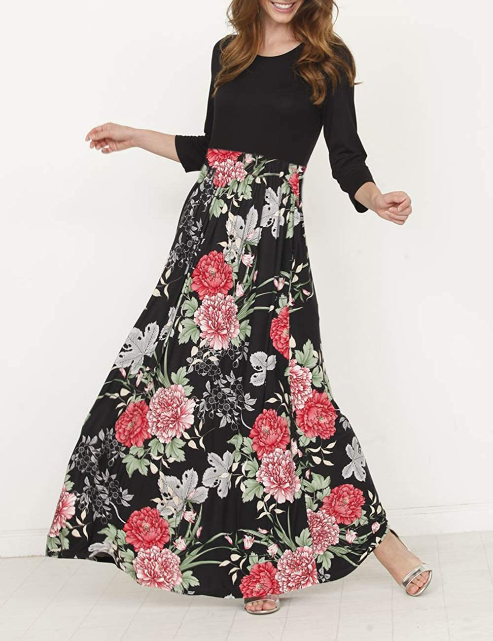 Womens Maxi Dress Floral Printed Autumn 3//4 Sleeve and Sleeveless Tunic Casual Long Dresses
