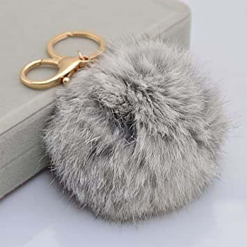 Rabbit Ball PomPom Cell Phone Car Keychain Pendant Handbag Cute Key RinYJCA