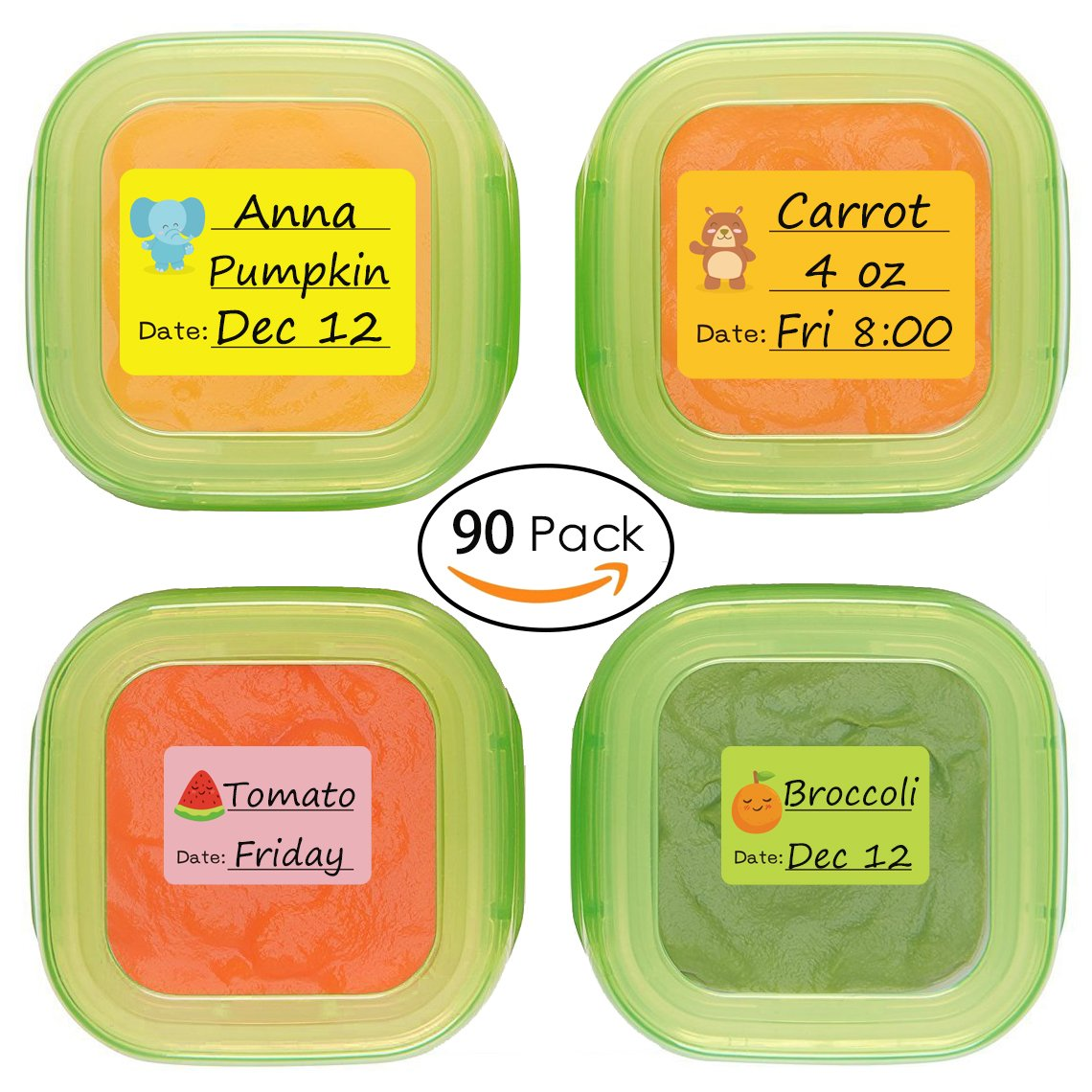 Baby Date Labels, Removable Write-On Labels for OXO Food Storage Containers & Baby Bottles, Great for Daycare, Pack of 90