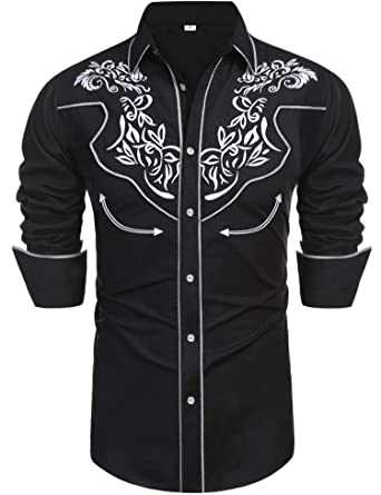 b5ad0c5c Daupanzees Men's Long Sleeve Embroidered Shirt Vaquero Slim Fit Cinch  Western Casual Button Down Shirts(
